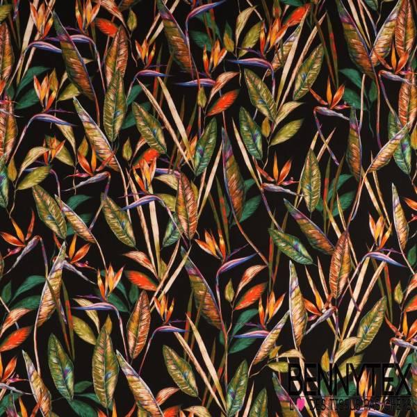 Fibranne Viscose Imprimé Longues Feuilles des Tropiques multicolores fond noir