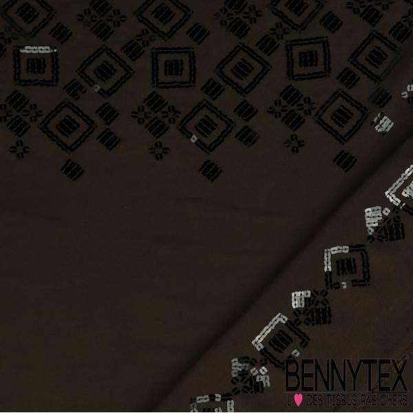 Fibranne Viscose double base brodée motifs géométriques en sequins carré fond café