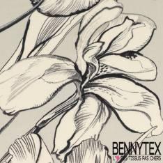 Crêpe Viscose Imprimé Grands Iris graphiques fond gris perle