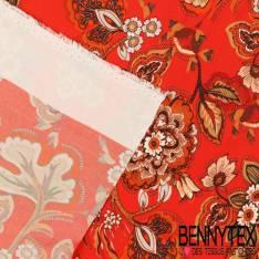 Crêpe Viscose Motif Fleurs Cashemirs Camaïeu Noisette fond rouge cinabre
