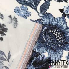 Fibranne Viscose Imprimé Fleurs avec tige coloris denim tramé fond blanc