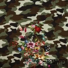 Fibranne Viscose simple base Imprimé Camouflage et bouquet de fleurs multicolores