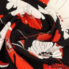 Crêpe Viscose Motif Coquelicot blanc et rouge fond Noir