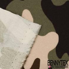Simple base Crêpe Viscose Motif Camouflage Militaire avec bouquet de fleurs multicolores