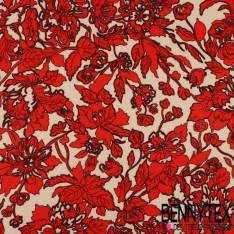 Crêpe Polyester Imprimé Motif Fleurs Rococo rouge fond pêche