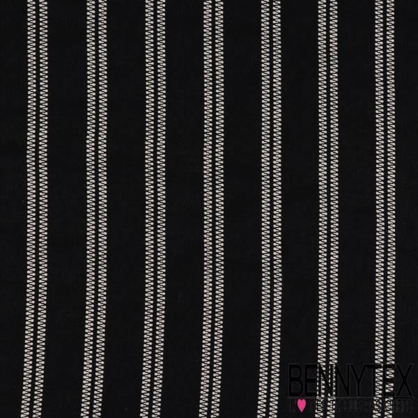 Polyester fluide Piqué ajouré fines rayures style fermeture élaire écru fond marine