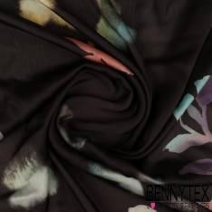 Bi stretch Polyester Imprimé Artifice de Papillons multicolores fond Navy