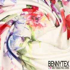 Panneau Coton Satin Elasthanne Imprimé Fleurs fond blanc et frise fleurs fond marine