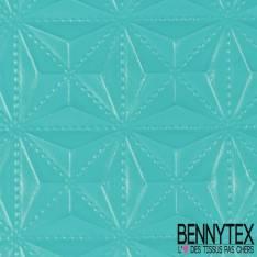 Toile PVC Imperméable Souple Motif Embossé Géométrique Turquoise