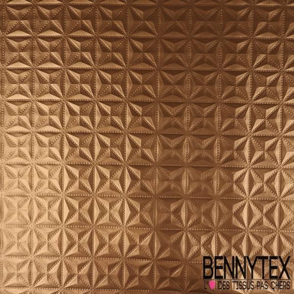 Toile PVC Imperméable Souple Motif Embossé Géométrique Bronze métallisé