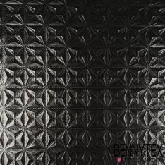 Toile PVC Imperméable Souple Motif Embossé Géométrique Noir