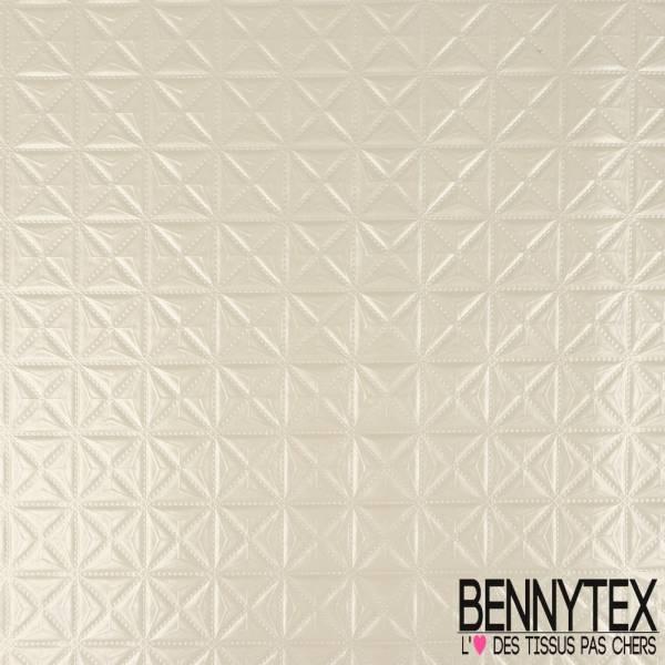 Toile PVC Imperméable Souple Motif Embossé Géométrique Blanc Métallisé
