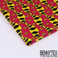 Wax Africain N°128 : Motif suite de cercle jaune et noir se croisant sur fond fushia
