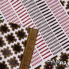 Wax Africain N°131 : Motif Ethnique croix trait tiret choco, jaune, rouge fond écru