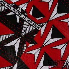 Wax Africain N°132 : Motif Boomerang géométrique blanc noir fond rouge