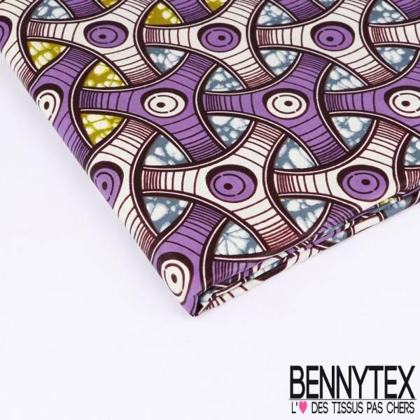 Wax Africain N°133 : Motif Volant se croisant violette et blanc fond marbré kaki et pétrole