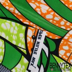 Wax Africain N°134 : Grand Motif Voyage au pays des rêves vert sur fond marbré bouton d'or