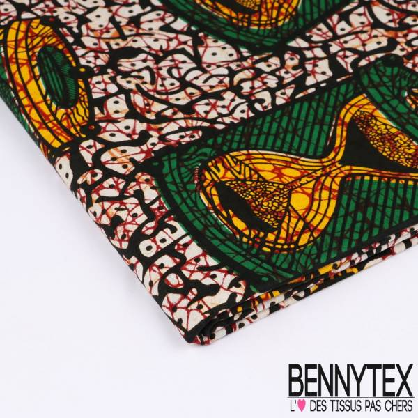 Wax Africain N°135 : Grand Motif Sablier vert et jaune fond marbré point beige,noir et lie de vin