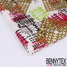 Wax Africain N°138 :Motif Gribouillis multicolors et losange doré fond blanc