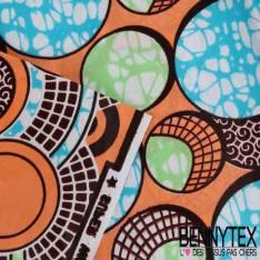 Wax Africain N°139 :Motif Bulle Estivale Fantaisie marbrée fond Saumon