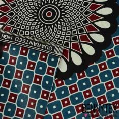 Wax Africain N°141 :Motif Grandes rosaces sur fond imprimé cravate pétrole lie de vin
