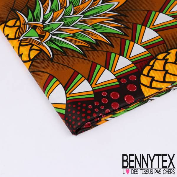 Wax Africain N°142 : Grand Motif Ananas orange fond Ethnique Bariolé Cappuccino