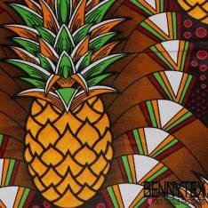 Wax Africain N°142 : Grand Motif Ananas orange fond Ethnique Bariolé Cappuccino
