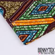 Wax Africain N°143 : Grand Motif Médaillons Losange et Rond Fond Marbré multicolore