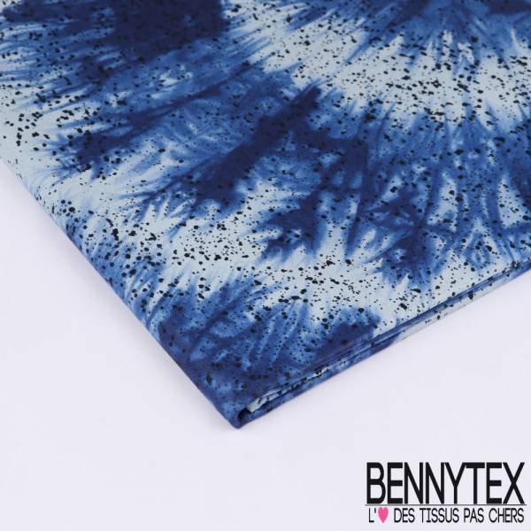 Wax Africain N°146 : Motif Tie and Die Bleu Indigo avce Projection effet Peinture coloris Navy