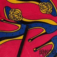 Wax Africain N°147 : Motif Escarpin Bleu roy semelle Citron fond Rose Vif