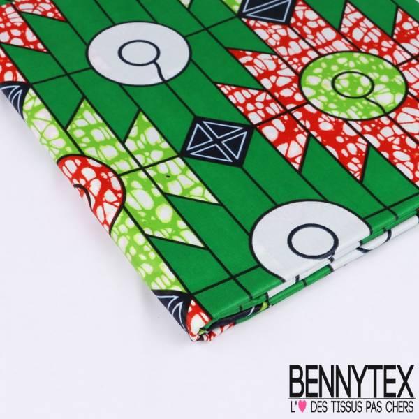 Wax Africain N°152 : Motif Rond Géométrique Vert Sinople fond rayé effet Marbré Brique et Anis