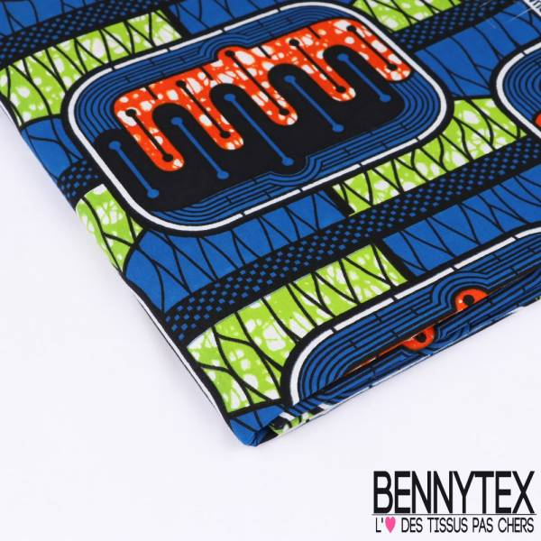 Wax Africain N°154 : Motif Peignes Stylisés imbriqués Marbrés Anis et Mandarine fond Bleu Roy