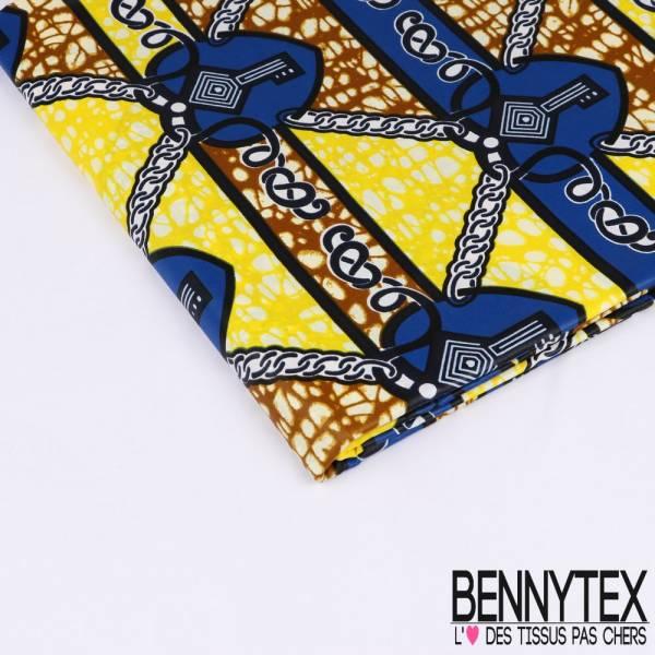 Wax Africain N°156 : Motif La clef Du Coeur enchainée Fond Marbré jaune et cappuccino