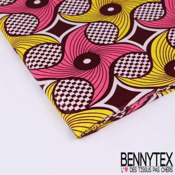Wax Africain N°158 : Motif HandSpiner Stylisé Impression Spirale Fond Damier Blanc et Bordeaux