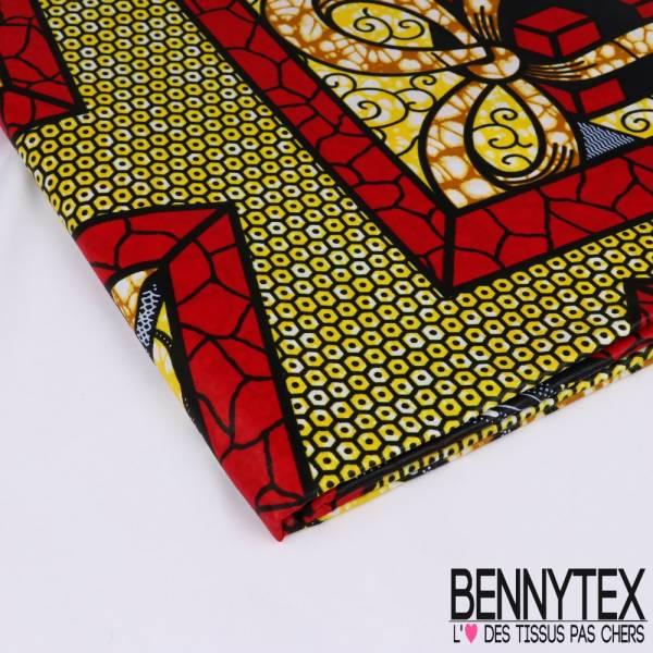 Wax Africain N°159 : Motif Paquet Cadeau Rouge et Lettre d'Amour fond Essaim d'abeille Jaune