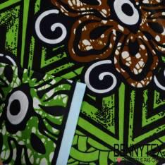Wax Africain N°162: Motif Fleurs et Osier Fond Marbré Pomme et Cappucino