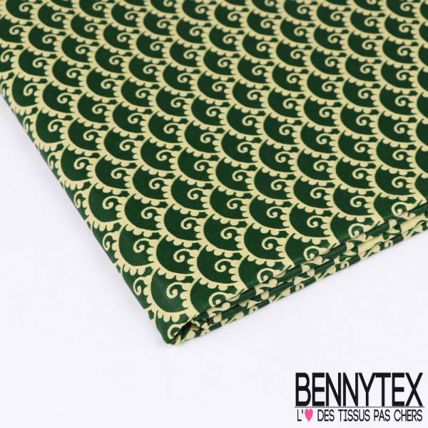 Wax Africain N°163: Petits Motifs Cashemires All over Jaune pâle fond Vert Bouteille
