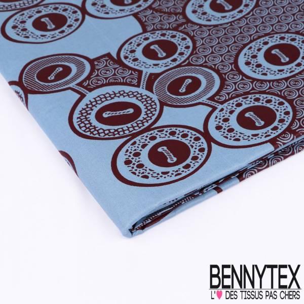 Wax Africain N°164: Motifs Boutons Cousus Aubergine fond Bleu Charron