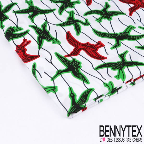 Wax Africain N°165: Motifs Envol d'Ibis noirs cernés Sapin et Rouge fond Blanc