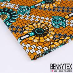 Wax Africain N°167: Motifs Naîfs Géométriques Multicolores Fond Ecru