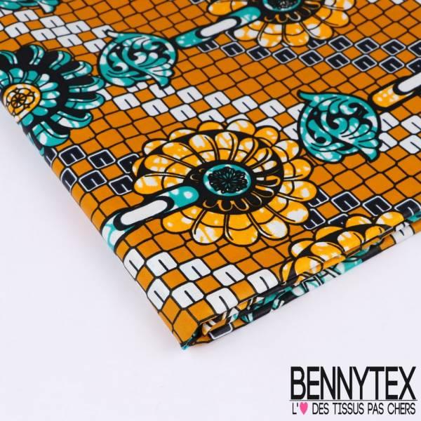 Wax Africain N°168: Motifs Fleurs Enchainées Jaune Or fond Carrelé Marbré Jaune oOr et Emeraude
