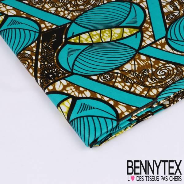 Wax Africain N°169: Motifs Pelottes de Laines Stylisées Emeraude fond Marbré Olive et Anis