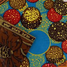 Wax Africain N°171: Motifs Ronds multiples Fond Lagon et Ocre