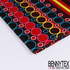 Wax Africain N°173: Motifs Rangées de Cercles Psychadéliques Multicolores fond Rouge et Noir