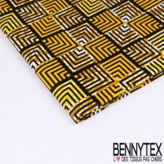 Wax Africain N°177: Motifs Petits carrés Répétitifs Infinis fond Marbré Ocre et Jaune Or