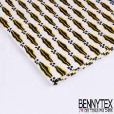 Wax Africain N°178: Motif Abstrait noir cerné jaune Or fond Ecru