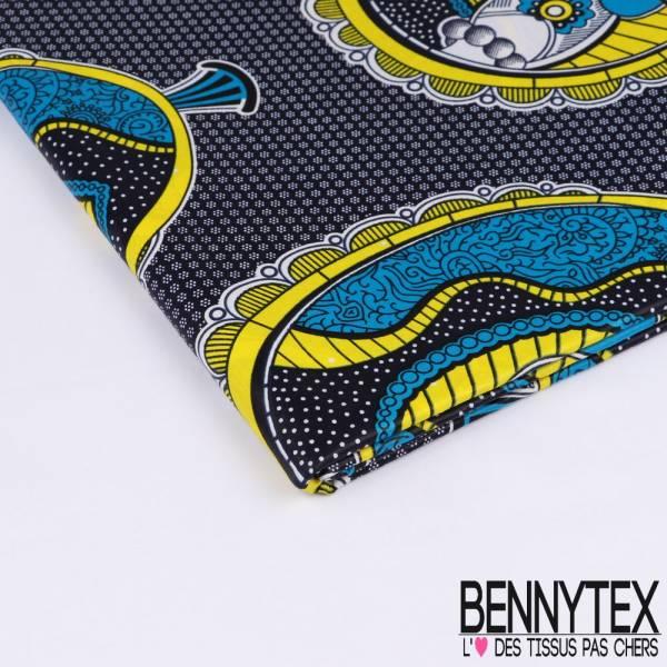 Wax Africain N°180: Motif Oeuf Abstrait Jaune et Azur fond Imprimé Cravate Nuit