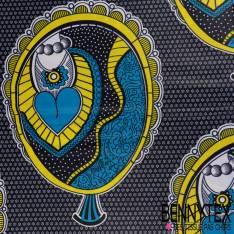 Wax Africain N°180: Motif Abstrait noir cerné jaune Or fond Ecru