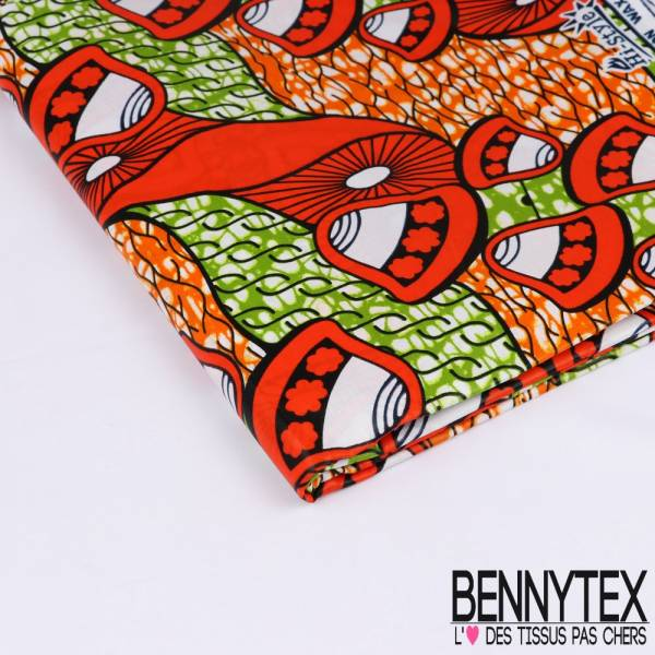 Wax Africain N°183: Motif Cloches Vermillon fond Marbré Anis et Orange