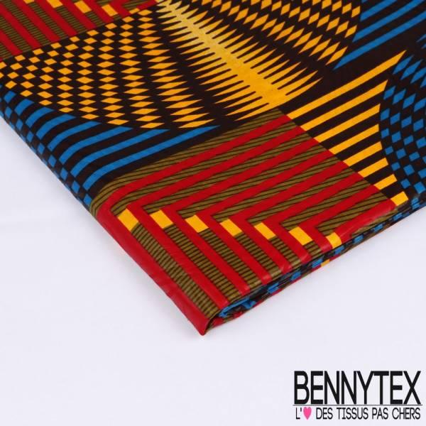 Wax Africain N°187: Motif Géométrique effet Psychadélique en Mouvement